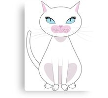 White Cat with blue eyes Canvas Print
