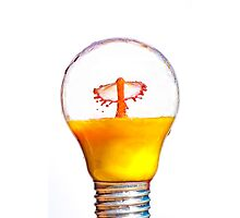 High-speed flash photograph liquid droplet inside a sealed light bulb.  Photographic Print