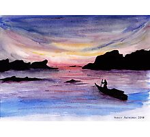 Water Roaming on ocean - watercolours Photographic Print