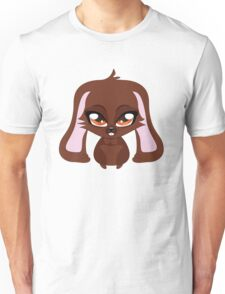 Cute cartoon brown bunny with big eyes Unisex T-Shirt