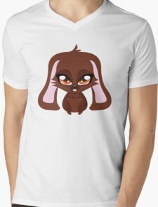 Cute cartoon brown bunny with big eyes Mens V-Neck T-Shirt