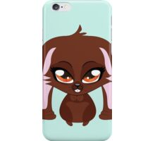Cute cartoon brown bunny with big eyes iPhone Case/Skin