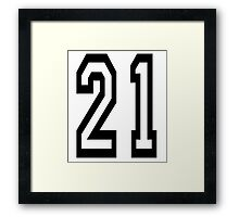 TEAM SPORTS, NUMBER 21, TWENTY ONE, 21, TWENTY FIRST, TWO, ONE, Competition,  Framed Print