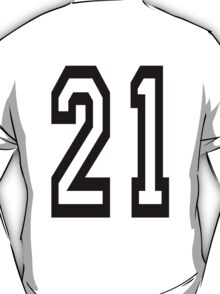 TEAM SPORTS, NUMBER 21, TWENTY ONE, TWENTY FIRST, TWO, ONE, Competition,  T-Shirt