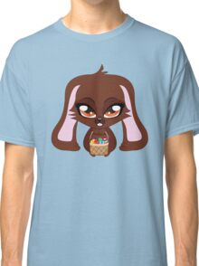 Cute cartoon brown bunny with basket of Easter eggs Classic T-Shirt