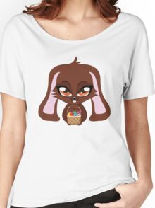 Cute cartoon brown bunny with basket of Easter eggs Women's Relaxed Fit T-Shirt