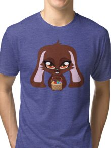 Cute cartoon brown bunny with basket of Easter eggs Tri-blend T-Shirt