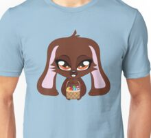 Cute cartoon brown bunny with basket of Easter eggs Unisex T-Shirt