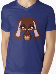 Cute cartoon brown bunny with basket of Easter eggs Mens V-Neck T-Shirt
