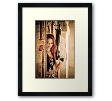 Aggressive Young woman of 24 with automatic rifle  Framed Print