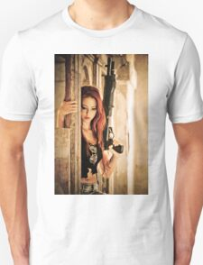 Aggressive Young woman of 24 with automatic rifle  Unisex T-Shirt