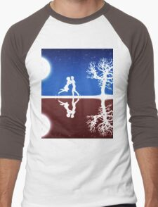 Abstract background with white silhouettes Men's Baseball ¾ T-Shirt