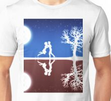 Abstract background with white silhouettes Unisex T-Shirt