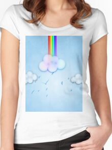 Abstract rainbow clouds 2 Women's Fitted Scoop T-Shirt