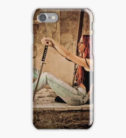 Aggressive Young woman of 24 with a Samurai Sword  iPhone Case/Skin