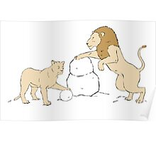 Snow Lions Poster