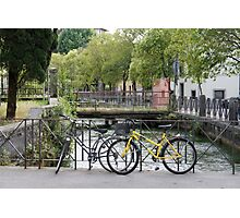 Bicycles by the river Photographic Print