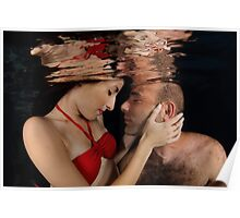 Romantic couple hugging underwater Poster