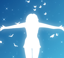 People silhouettes with grass and butterflies 2 Sticker