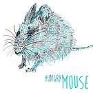 The hungry mouse - blue ink drawing by reslanh