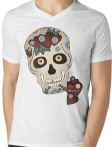 Sugar Skull Hearts and Blue Flowers Mens V-Neck T-Shirt