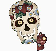 Sugar Skull Hearts and Blue Flowers Unisex T-Shirt