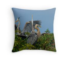 Three Great Blue Herons Throw Pillow