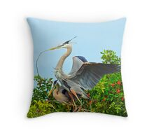 Great Blue Herons Nest Building Throw Pillow