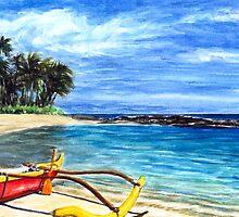 Blue Hawaii Red Kayak By Yuriy B. by bihusyak