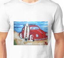 Volkswagon Bug Red with Surfboard Unisex T-Shirt