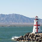 Red and White Lighthouse Lake Havasu  by tvlgoddess
