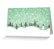 snowman with trees Greeting Card