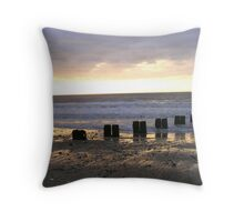 Bridlington North Beach Sunrise Throw Pillow