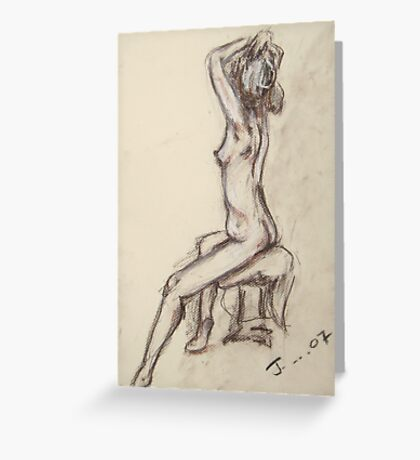 Female Nude, pencil, pastel, charcoal Greeting Card