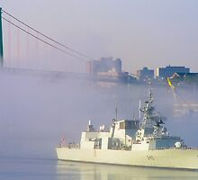 HMCS ST. JOHN'S in the mist by Sandy  McClearn