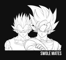 Goku and Vegeta Swolemates Black and White Manga Version by zeephattony