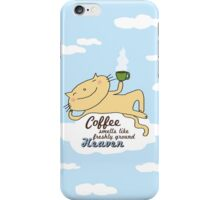 Coffee smells like freshly ground Heaven / Cat doodle iPhone Case/Skin