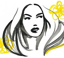 Ink Girl with Yellow Flowers by Virginia Romo