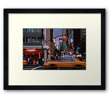 New York Taxi Cabs at Dusk Framed Print