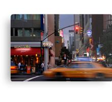 New York Taxi Cabs at Dusk Metal Print