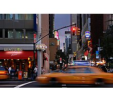 New York Taxi Cabs at Dusk Photographic Print
