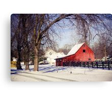 PRETTY RED BARN IN WINTER Canvas Print