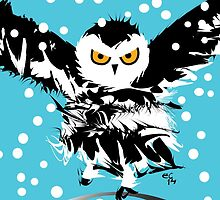 O is for Owl -  the only Snowy Black Winter One by eviecha