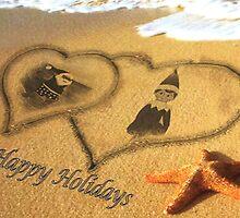 Elf In the Sand With Santa by WhiteDove Studio kj gordon