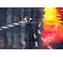 Policeman in the rain  Photographic Print