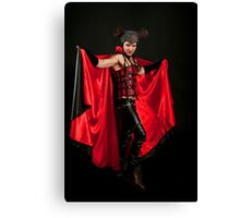 Male Devil costume on black background  Canvas Print