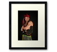 Strong Male Pirate on black background  Framed Print