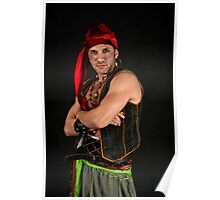 Strong Male Pirate on black background  Poster