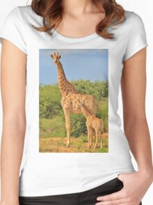 Giraffe Love - Mom is the Best Women's Fitted Scoop T-Shirt