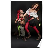 Pirate couple on black background  Poster